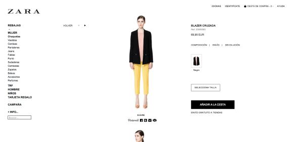 Pinterest en tienda online de Zara